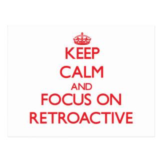 Guarde la calma y el foco en retroactivo postal