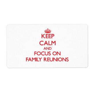 Guarde la calma y el foco en reuniones de familia etiqueta de envío