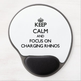 Guarde la calma y el foco en Rhinos de carga Alfombrilla De Raton Con Gel