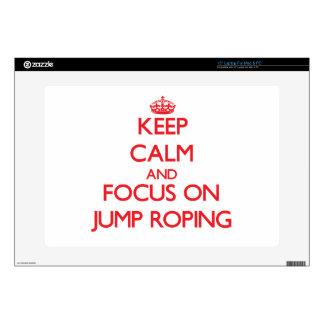 Guarde la calma y el foco en Roping del salto 38,1cm Portátil Calcomanías