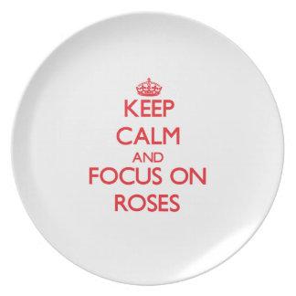 Guarde la calma y el foco en rosas platos para fiestas