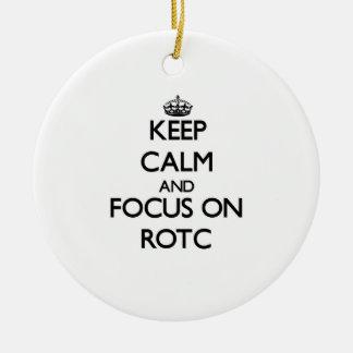 Guarde la calma y el foco en Rotc Adorno Navideño Redondo De Cerámica