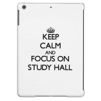 Guarde la calma y el foco en sala de estudio funda para iPad air