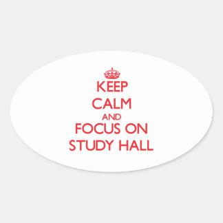 Guarde la calma y el foco en sala de estudio colcomanias óval