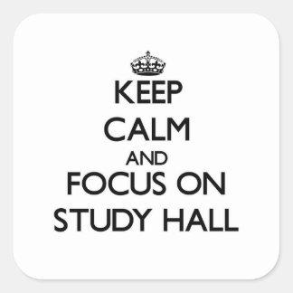 Guarde la calma y el foco en sala de estudio calcomanía cuadradas personalizadas