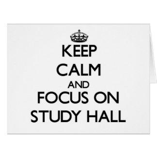 Guarde la calma y el foco en sala de estudio tarjeta de felicitación grande