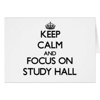 Guarde la calma y el foco en sala de estudio tarjeta pequeña