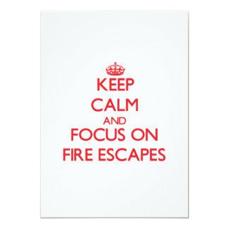 """Guarde la calma y el foco en salidas de incendios invitación 5"""" x 7"""""""