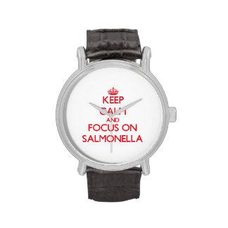 Guarde la calma y el foco en salmonelas relojes de pulsera
