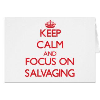 Guarde la calma y el foco en salvar tarjeta de felicitación