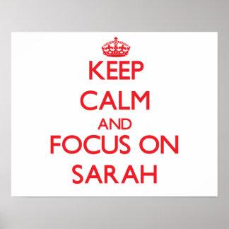 Guarde la calma y el foco en Sarah Poster