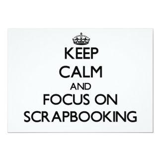 Guarde la calma y el foco en Scrapbooking Invitación 12,7 X 17,8 Cm