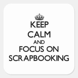 Guarde la calma y el foco en Scrapbooking Colcomanias Cuadradas