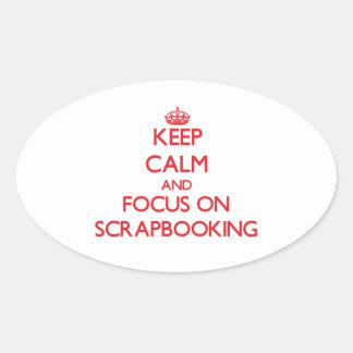 Guarde la calma y el foco en Scrapbooking Calcomania Ovaladas Personalizadas