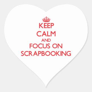 Guarde la calma y el foco en Scrapbooking Pegatinas Corazon