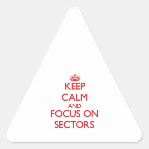 Guarde la calma y el foco en sectores pegatina triangular