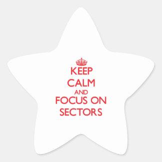 Guarde la calma y el foco en sectores pegatina en forma de estrella