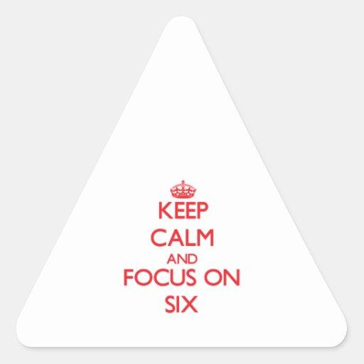 Guarde la calma y el foco en seis pegatinas de triangulo personalizadas