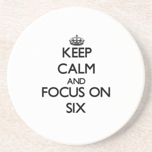 Guarde la calma y el foco en seis posavasos diseño