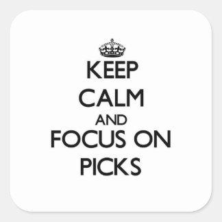 Guarde la calma y el foco en selecciones pegatinas cuadradas personalizadas