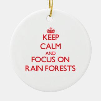 Guarde la calma y el foco en selvas tropicales ornamento para reyes magos