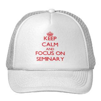 Guarde la calma y el foco en seminario gorros bordados