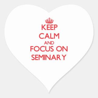 Guarde la calma y el foco en seminario calcomania corazon personalizadas