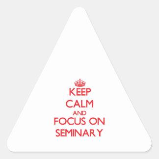 Guarde la calma y el foco en seminario colcomanias de triangulo personalizadas