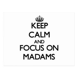 Guarde la calma y el foco en señoras