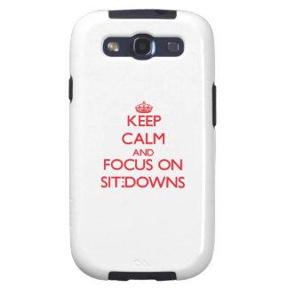 Guarde la calma y el foco en Sentar-Plumones Galaxy SIII Fundas