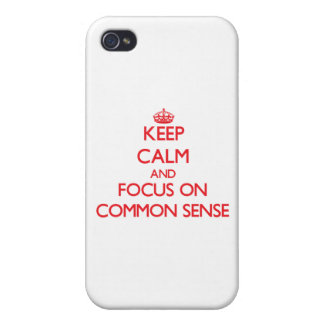 Guarde la calma y el foco en sentido común iPhone 4 carcasa