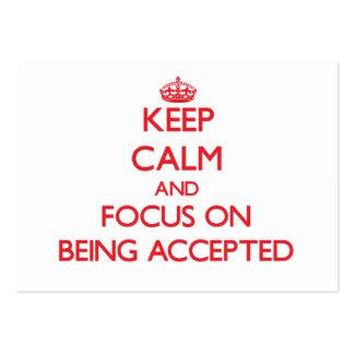 Guarde la calma y el foco en ser aceptado tarjetas de visita grandes