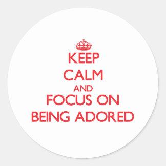 Guarde la calma y el foco en ser adorado pegatina redonda