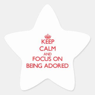 Guarde la calma y el foco en ser adorado colcomanias forma de estrella