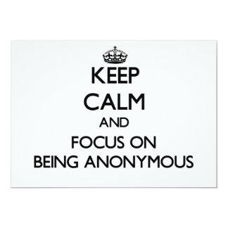 """Guarde la calma y el foco en ser anónimo invitación 5"""" x 7"""""""