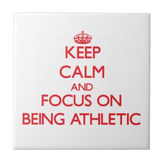 Guarde la calma y el foco en ser atlético azulejo ceramica