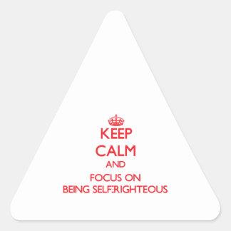 Guarde la calma y el foco en ser autosuficiente calcomanías trianguladas