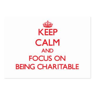 Guarde la calma y el foco en ser caritativo plantillas de tarjeta de negocio