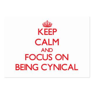 Guarde la calma y el foco en ser cínico plantilla de tarjeta personal