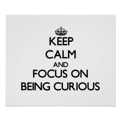 Guarde la calma y el foco en ser curioso póster
