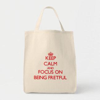 Guarde la calma y el foco en ser displicente bolsa tela para la compra