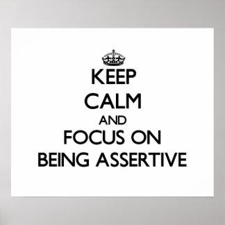 Guarde la calma y el foco en ser enérgico póster
