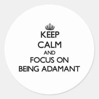 Guarde la calma y el foco en ser firme pegatina redonda
