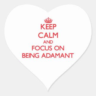 Guarde la calma y el foco en SER FIRME Calcomanía Corazón
