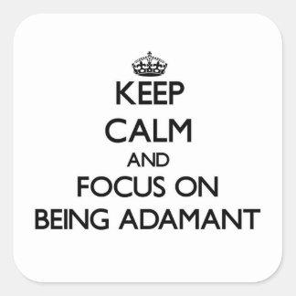Guarde la calma y el foco en ser firme colcomanias cuadradass