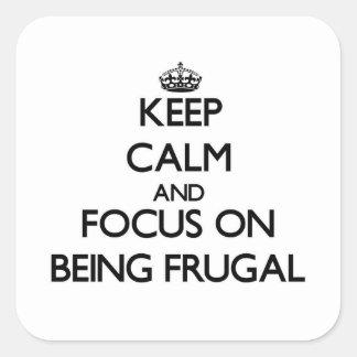 Guarde la calma y el foco en ser frugal calcomanía cuadradas personalizada