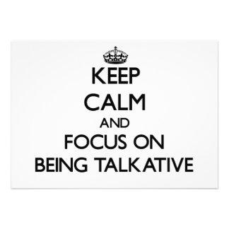 Guarde la calma y el foco en ser hablador anuncio