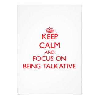Guarde la calma y el foco en ser hablador invitacion personalizada