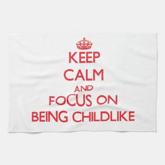 Guarde la calma y el foco en ser infantil toallas