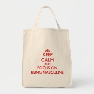 Guarde la calma y el foco en ser masculino bolsa tela para la compra